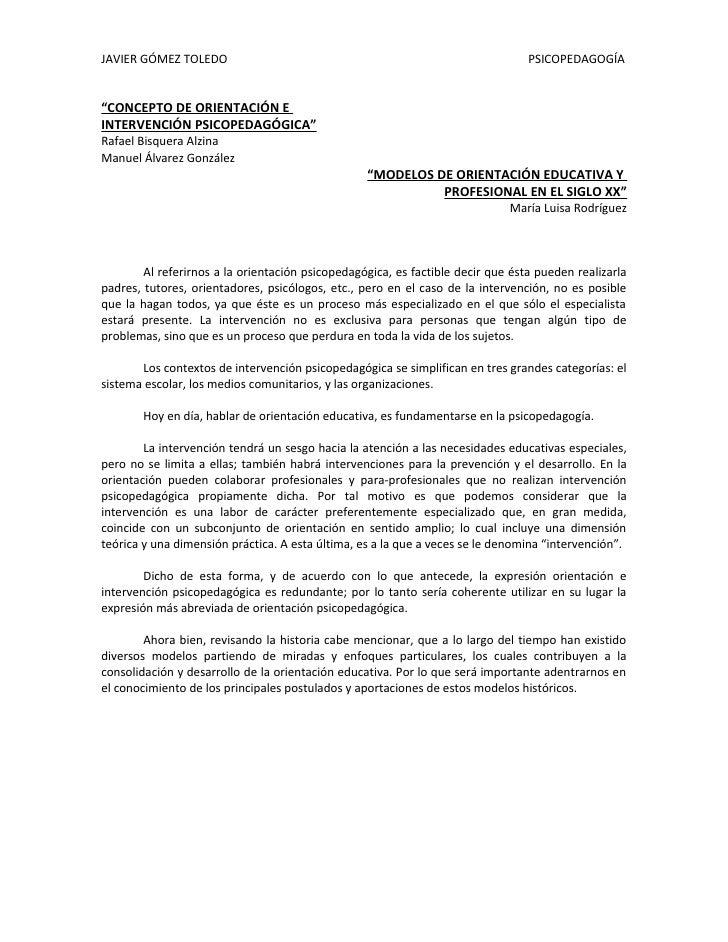 """JAVIER GÓMEZ TOLEDO                                                              PSICOPEDAGOGÍA   """"CONCEPTO DE ORIENTACIÓN..."""
