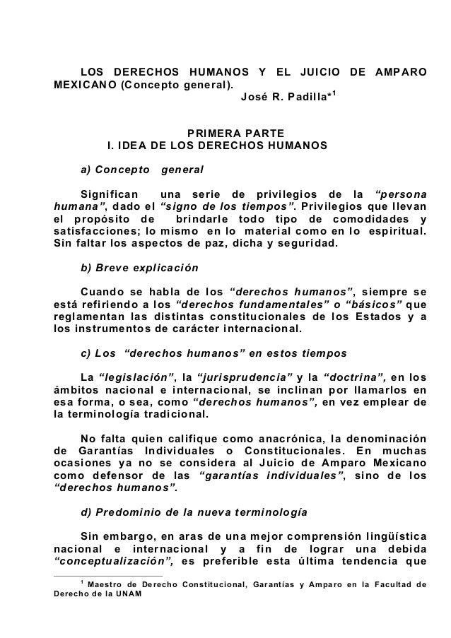 Los derechos humanos y el juicio de amparo Mexicano (Concepto General).
