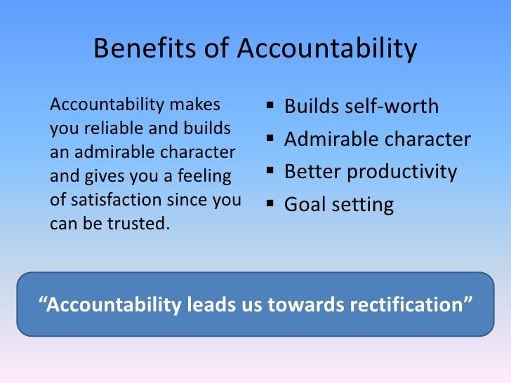 public accountability Public accountability is meant to reveal fitness for purpose of municipalities, departments, institutions and public entities, their programmes of action and their resources, especially their employees.