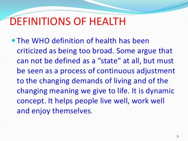 What is the holistic concept of health?