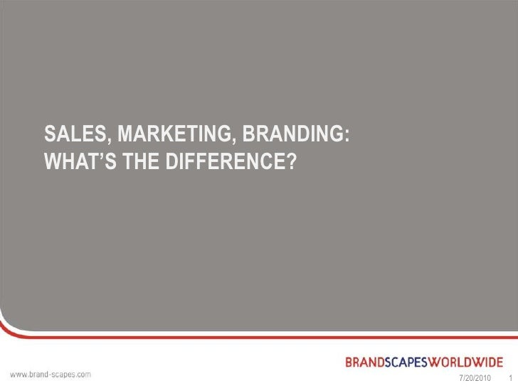 Sales, marketing, branding: what's the difference?<br />7/17/2010<br />1<br />