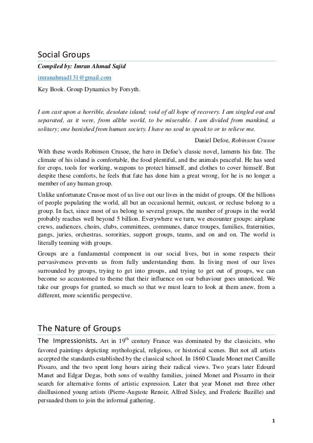 Concept of social group - Imran Ahmad Sajid
