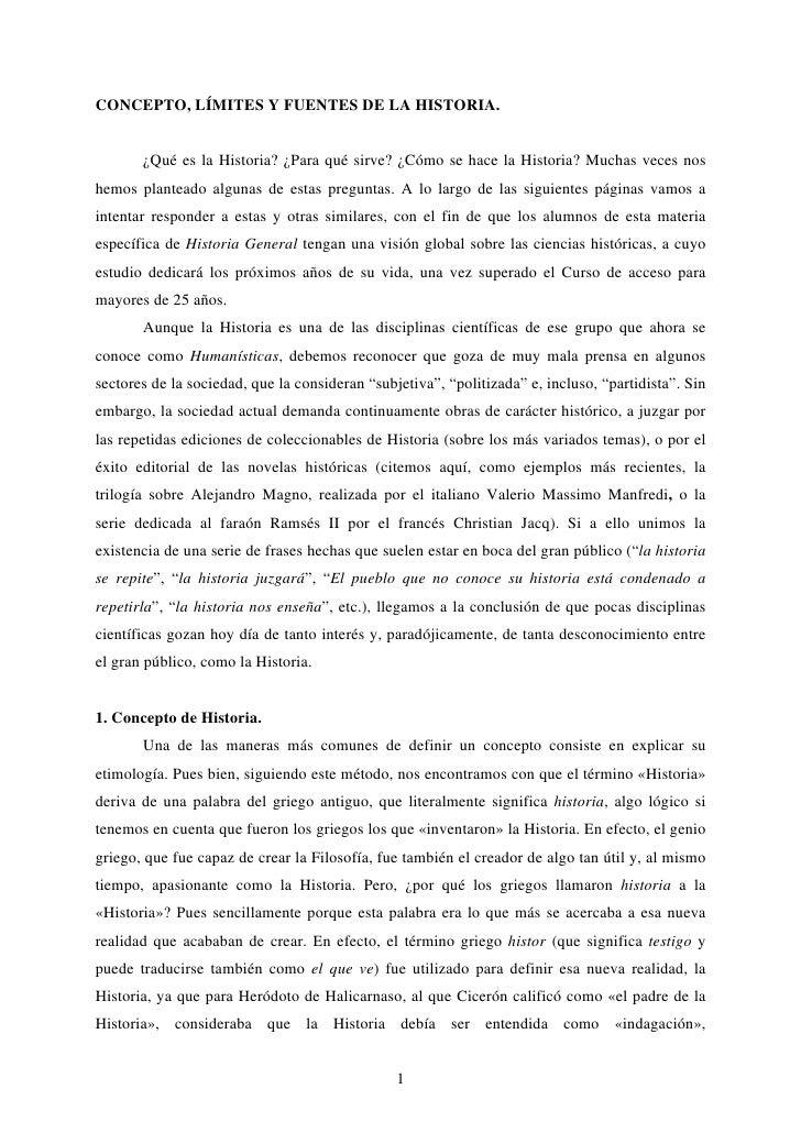 Concepto Limites Fuentes De La Historia
