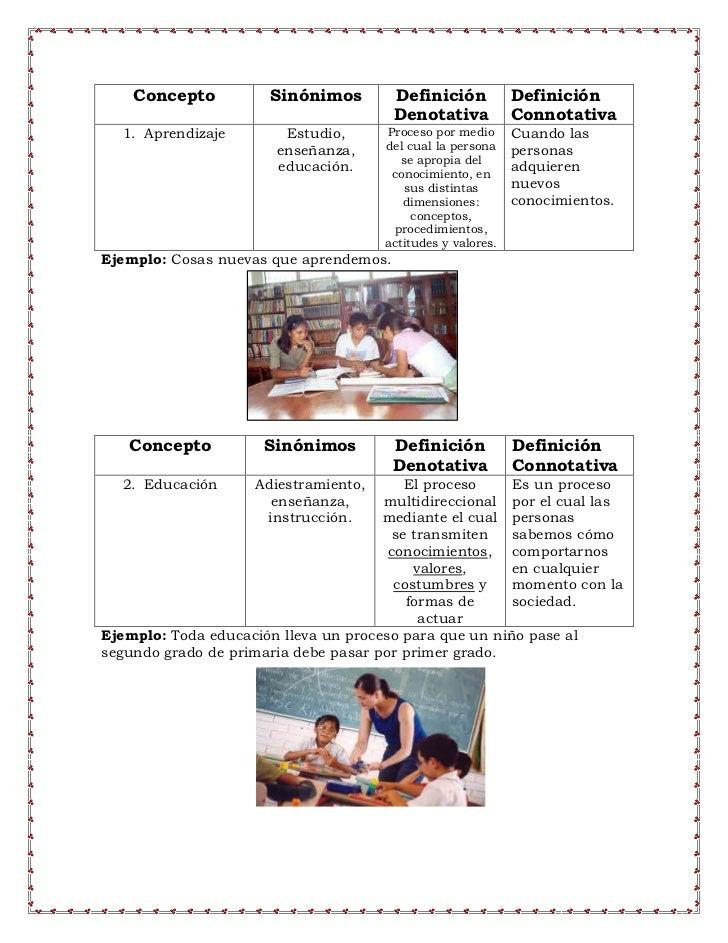 Concepto          Sinónimos         Definición           Definición                                        Denotativa     ...