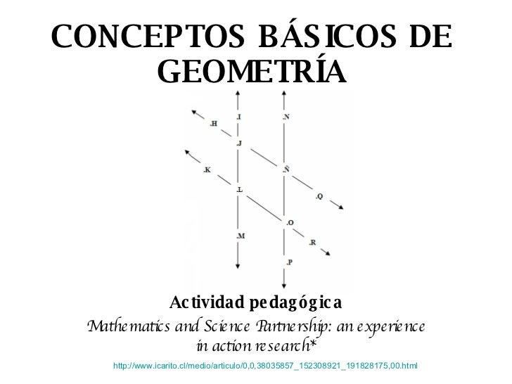 CONCEPTOS BÁSICOS DE GEOMETRÍA Actividad pedagógica Mathematics and Science Partnership: an experience in action research*...