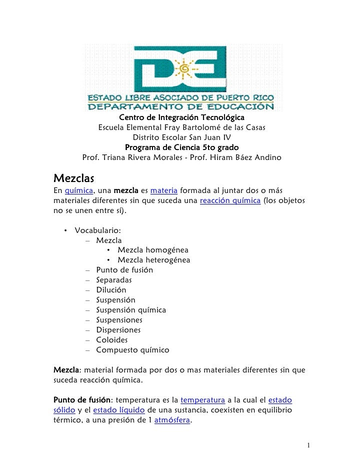 Centro de Integración Tecnológica             Escuela Elemental Fray Bartolomé de las Casas                       Distrito...