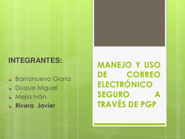 INTEGRANTES:                      MANEJO Y USO Barrionuevo Gloria                      DE    CORREO Duque Miguel         E...