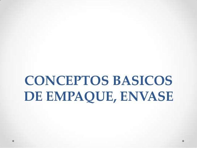 CONCEPTOS BASICOS DE EMPAQUE, ENVASE