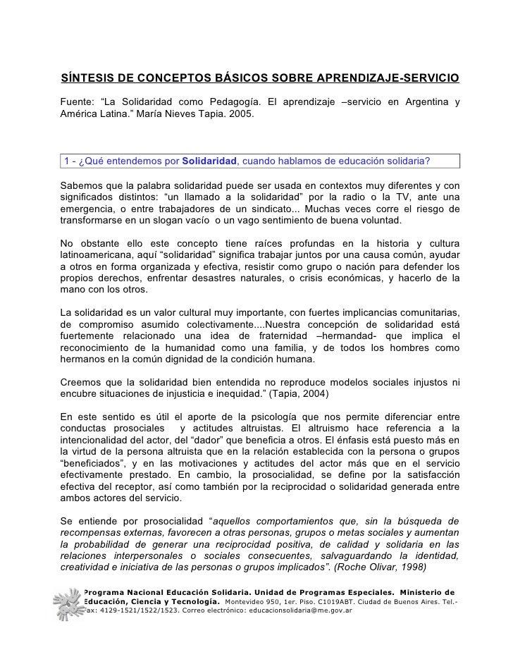 """SÍNTESIS DE CONCEPTOS BÁSICOS SOBRE APRENDIZAJE-SERVICIOFuente: """"La Solidaridad como Pedagogía. El aprendizaje –servicio e..."""