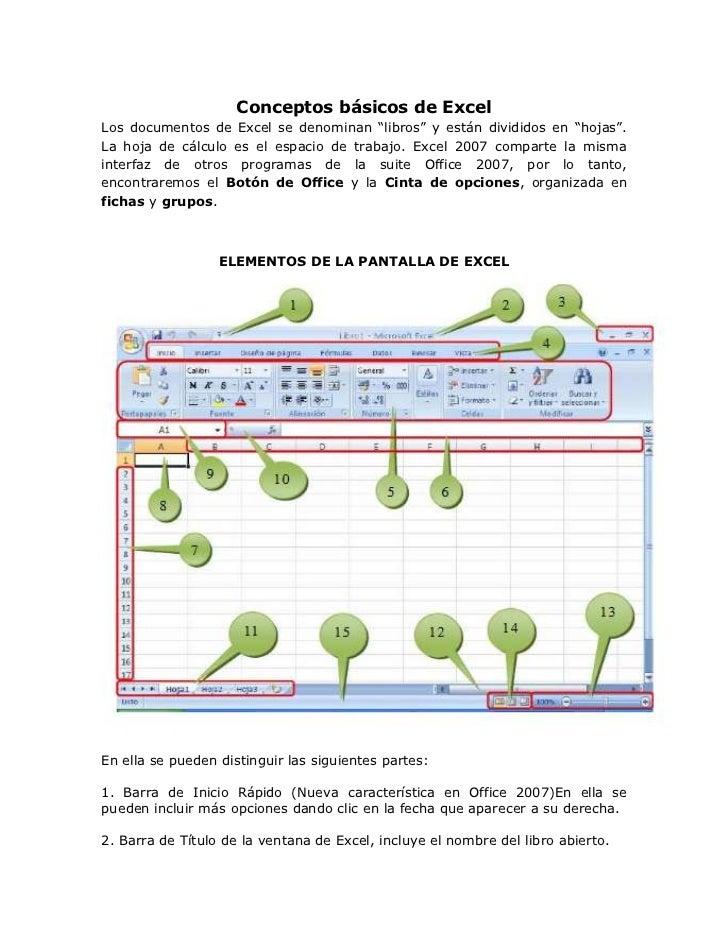 """Conceptos básicos de ExcelLos documentos de Excel se denominan """"libros"""" y están divididos en """"hojas"""".La hoja de cálculo es..."""