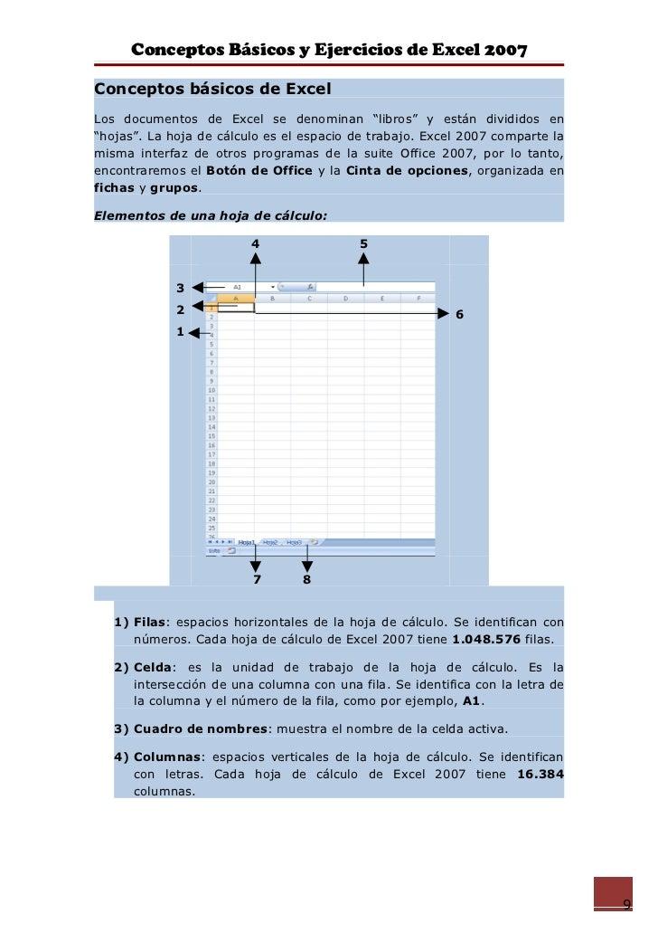 """Conceptos Básicos y Ejercicios de Excel 2007Conceptos básicos de ExcelLos documentos de Excel se denominan """"libros"""" y está..."""