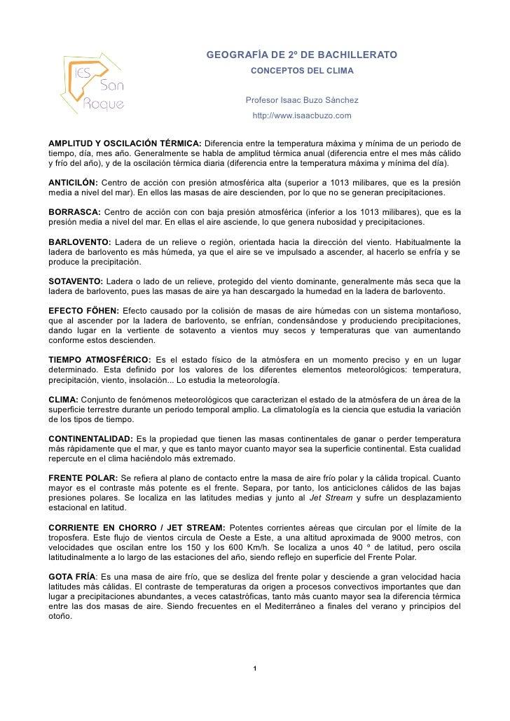 GEOGRAFÍA DE 2º DE BACHILLERATO                                                      CONCEPTOS DEL CLIMA                  ...