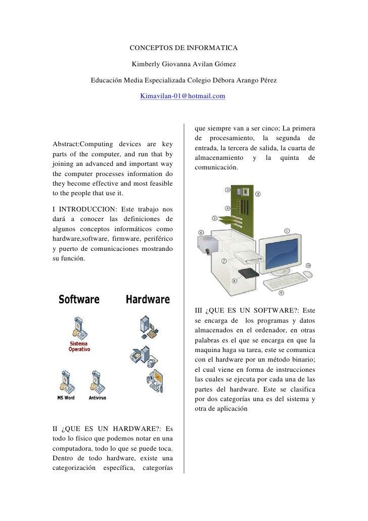 CONCEPTOS DE INFORMATICA                         Kimberly Giovanna Avilan Gómez            Educación Media Especializada C...