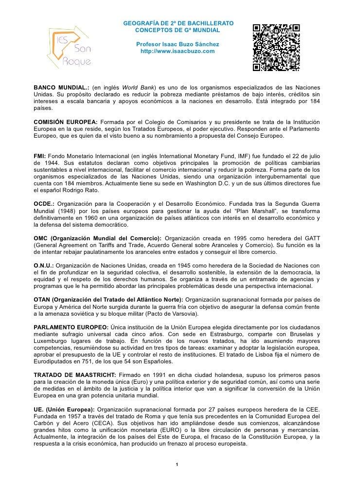 GEOGRAFÍA DE 2º DE BACHILLERATO                                     CONCEPTOS DE Gª MUNDIAL                               ...