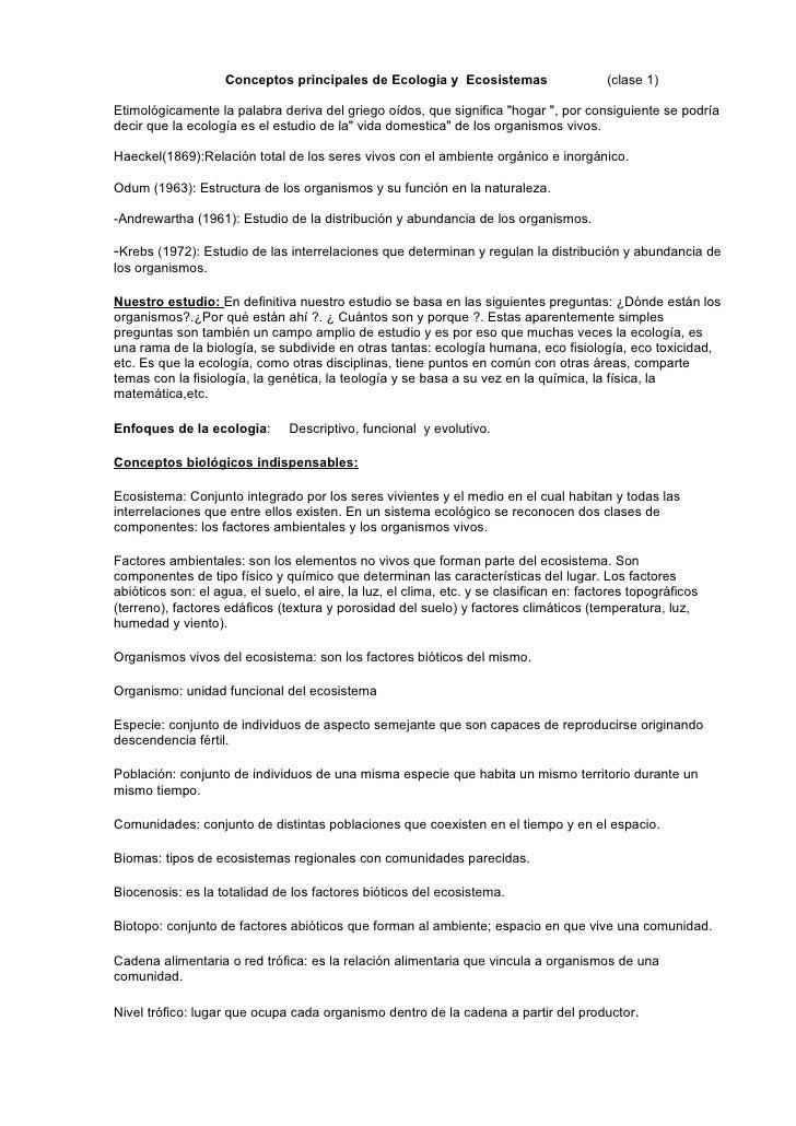CONCEPTOS FUNDAMENTALES DE ECOLOGÍA