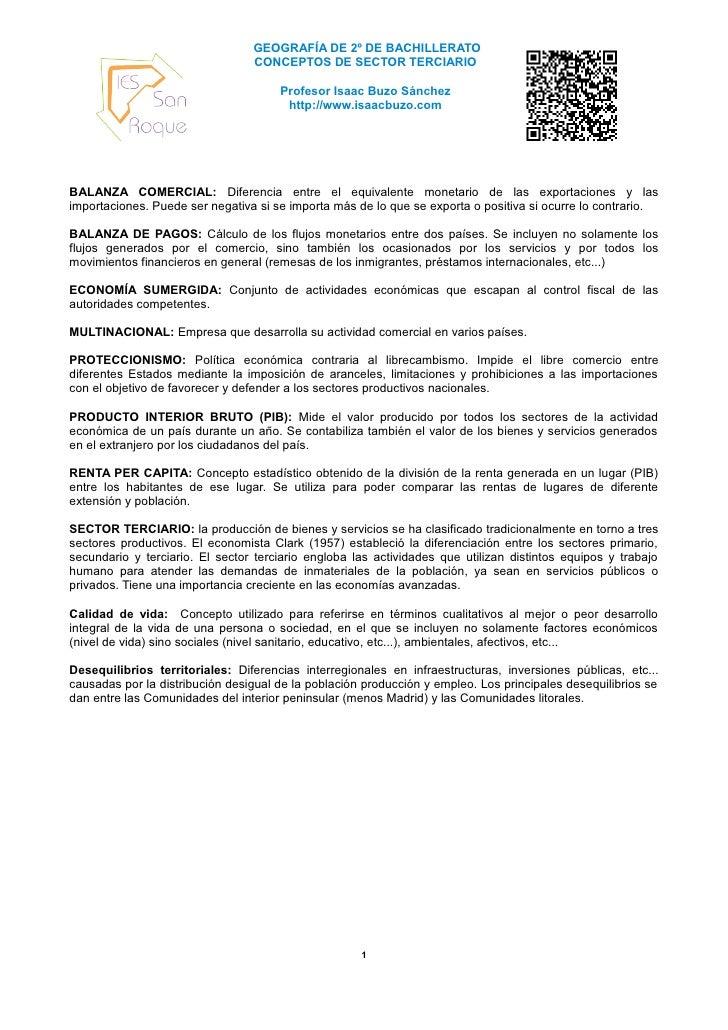 GEOGRAFÍA DE 2º DE BACHILLERATO                                 CONCEPTOS DE SECTOR TERCIARIO                             ...