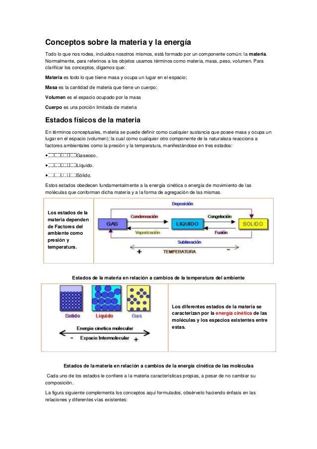 Conceptos sobre la materia y la energía