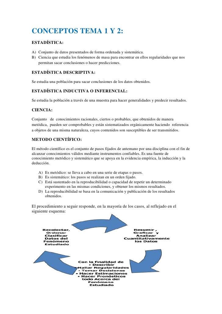 CONCEPTOS TEMA 1 Y 2:<br />ESTADÍSTICA:  <br />Conjunto de datos presentados de forma ordenada y sistemática.<br />Ciencia...