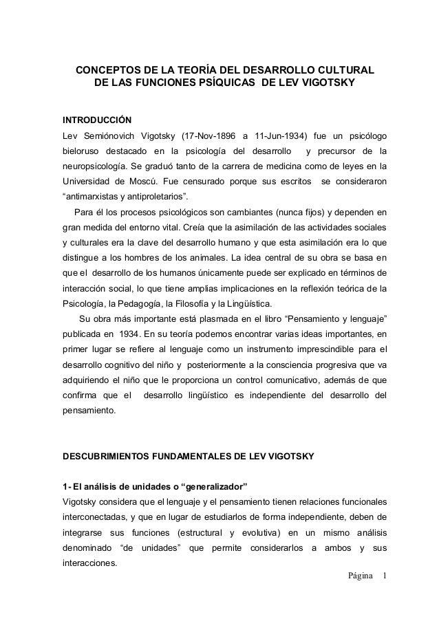 CONCEPTOS DE LA TEORÍA DEL DESARROLLO CULTURAL     DE LAS FUNCIONES PSÍQUICAS DE LEV VIGOTSKYINTRODUCCIÓNLev Semiónovich V...