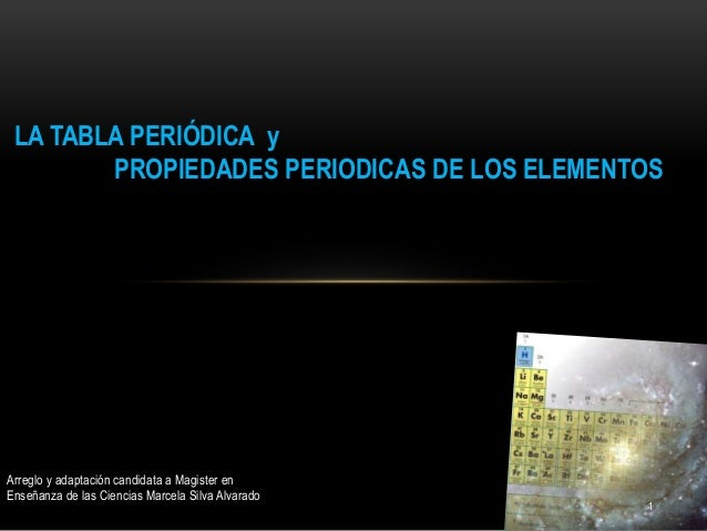 LA TABLA PERIÓDICA y PROPIEDADES PERIODICAS DE LOS ELEMENTOS 1 Arreglo y adaptación candidata a Magister en Enseñanza de l...