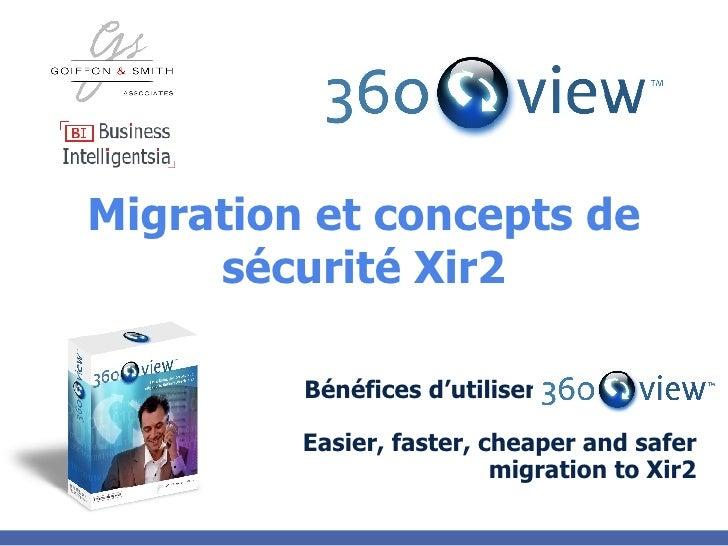Migration et concepts de sécurité Xir2 Bénéfices d'utiliser Easier, faster, cheaper and safer migration to Xir2
