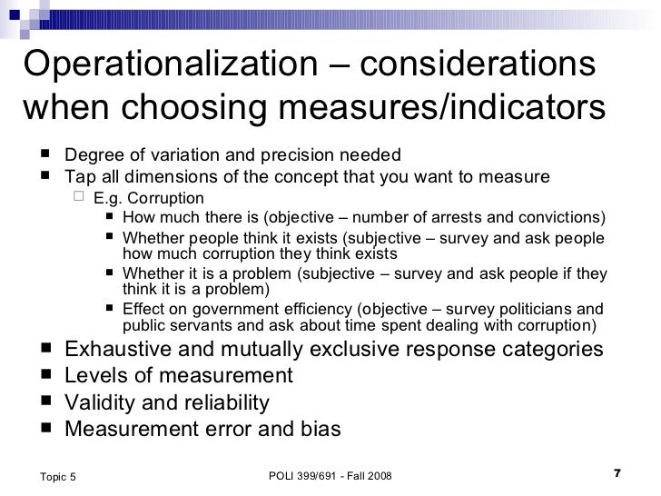 Concepts Operationalization And Measurement