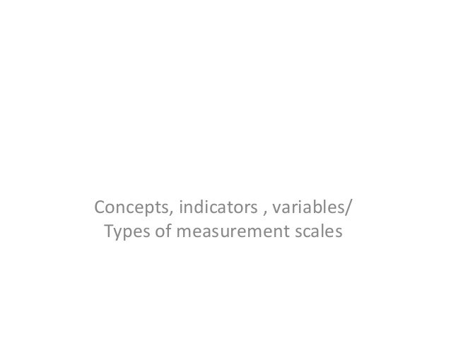 Concepts, indicators , variables/ Types of measurement scales