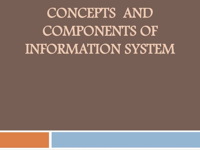 CONCEPTS AND COMPONENTS OF INFORMATION SYSTEM