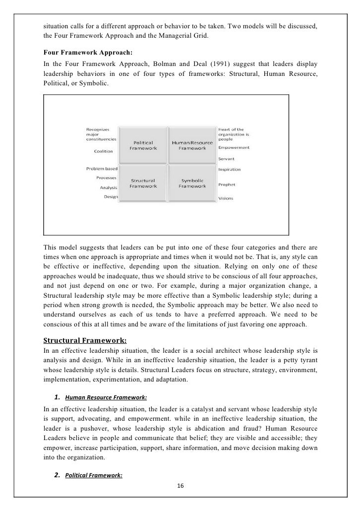 four frameworks for leadership the bolman deal model Bolman and deal's four framework approach to leadership no description by mark chung on 8 december 2012 tweet comments (0) please log in to add your comment report abuse more presentations by mark chung qipoc upper midwest.