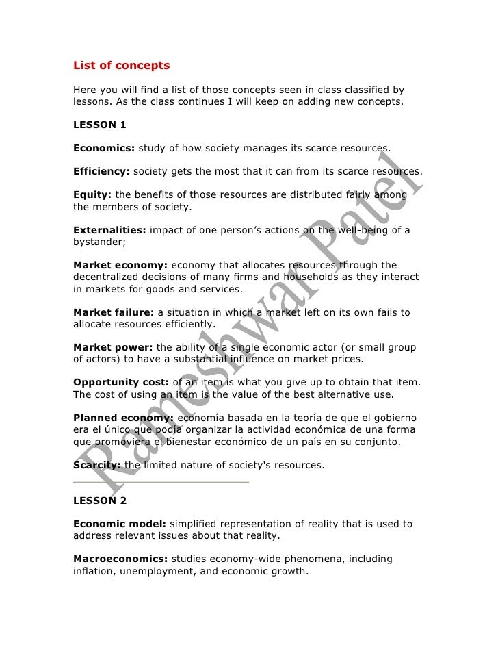 List of concepts  Here you will find a list of those concepts seen in class classified by lessons. As the class continues ...