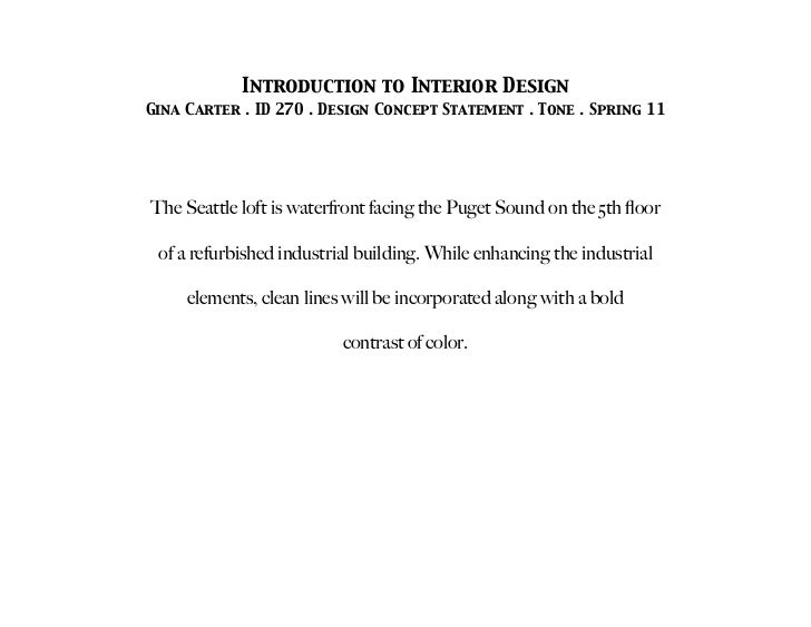 Interior Design Concept Statement Example | Awesome Interior