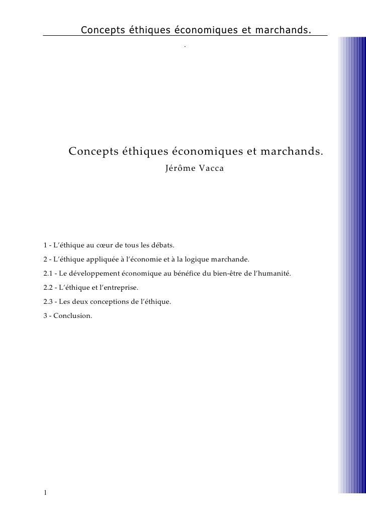 Concepts éthiques économiques et marchands
