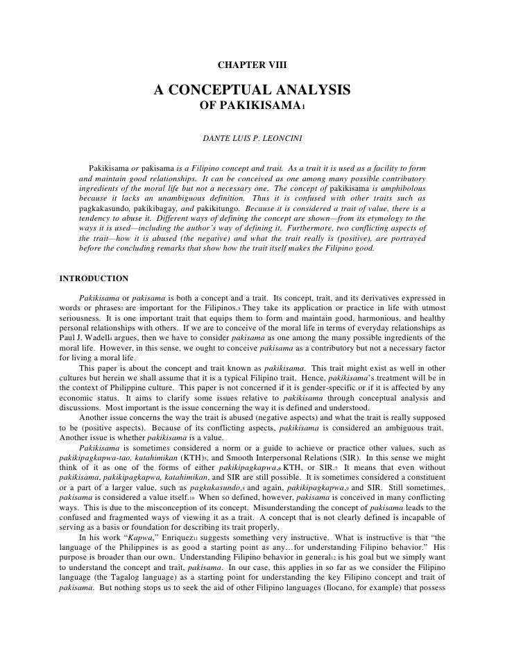 CHAPTER VIII<br /> <br />A CONCEPTUAL ANALYSIS <br />OF PAKIKISAMA1<br /> <br /> <br />DANTE LUIS P. LEONCINI<br /> <br />...