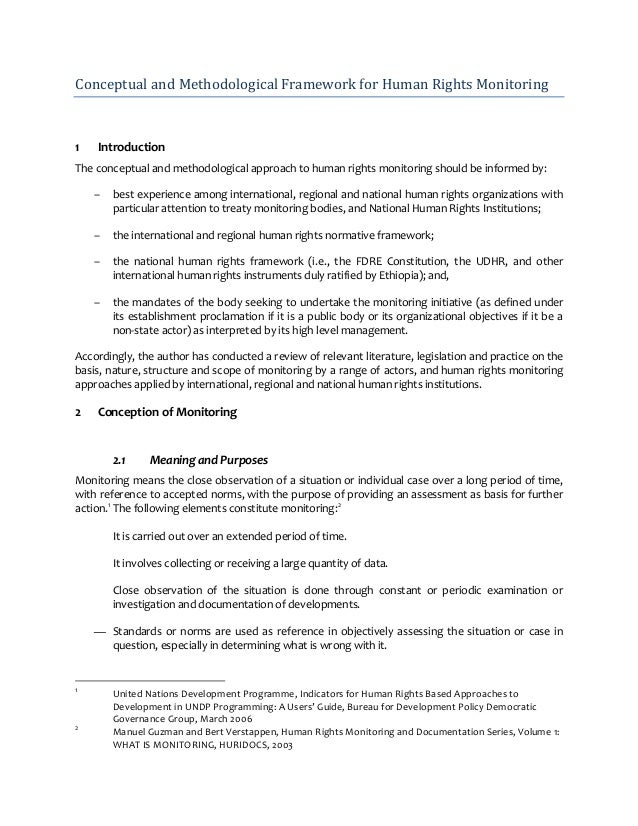 Conceptual and Methodological Framework for Human Rights Monitoring1   IntroductionThe conceptual and methodological appro...