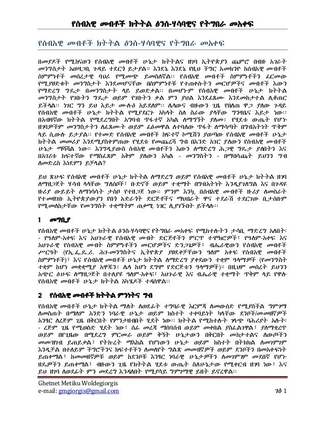 Conceptual and methodological framework for human rights monitoring (amharic)