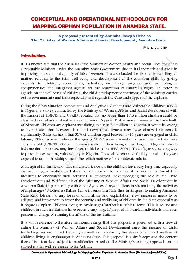 CONCEPTUAL AND OPERATIONAL METHODOLOGY FOR       MAPPING ORPHAN POPULATION IN ANAMBRA STATE.                     A proposa...