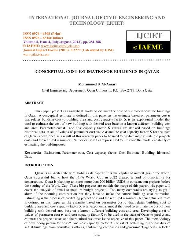 Conceptual cost estimates for buildings in qatar