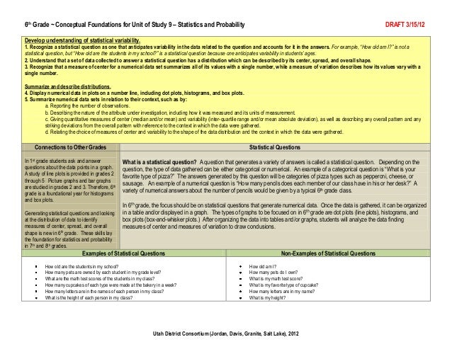 6th Grade ~ Conceptual Foundations for Unit of Study 9 – Statistics and Probability                                       ...