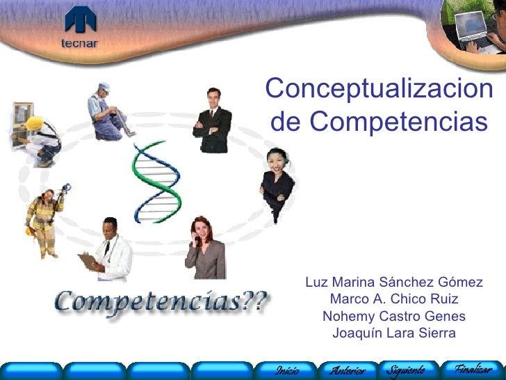 Conceptualizacion de Competencias Luz Marina Sánchez Gómez Marco A. Chico Ruiz Nohemy Castro Genes Joaquín Lara Sierra