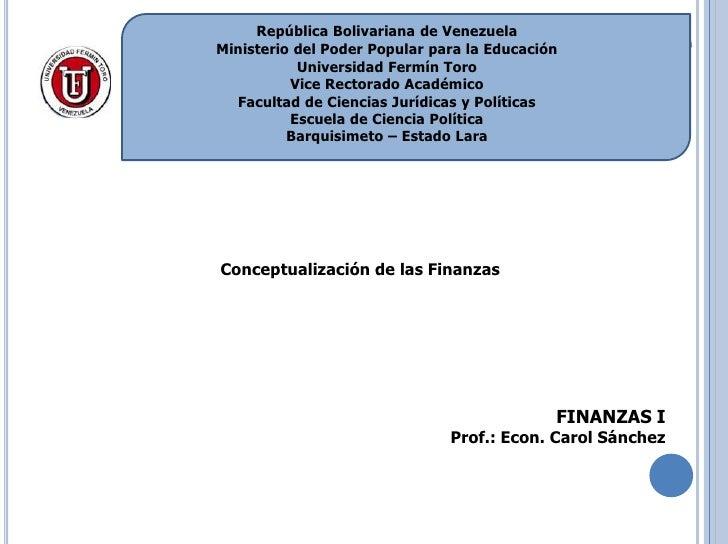 Conceptualización y campo de acción de las finanzas