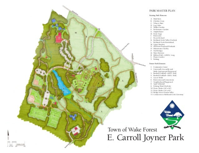E. Carroll Joyner Park Park Master Plan Existing Park Elements 	A.	 Mule Barn 	 B.	 Chicken Coop 	 C.	Tobacco Barn 	 D.	Lo...