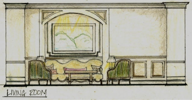 Conceptual loft design boards living room elevation for Living room elevation