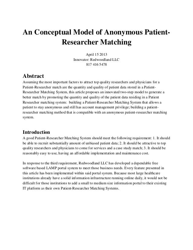 An Conceptual Model of Anonymous Patient-          Researcher Matching                                         April 15 20...