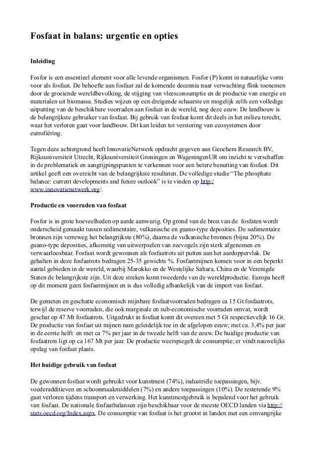 Fosfaat in balans: urgentie en opties Inleiding Fosfor is een essentieel element voor alle levende organismen. Fosfor (P) ...