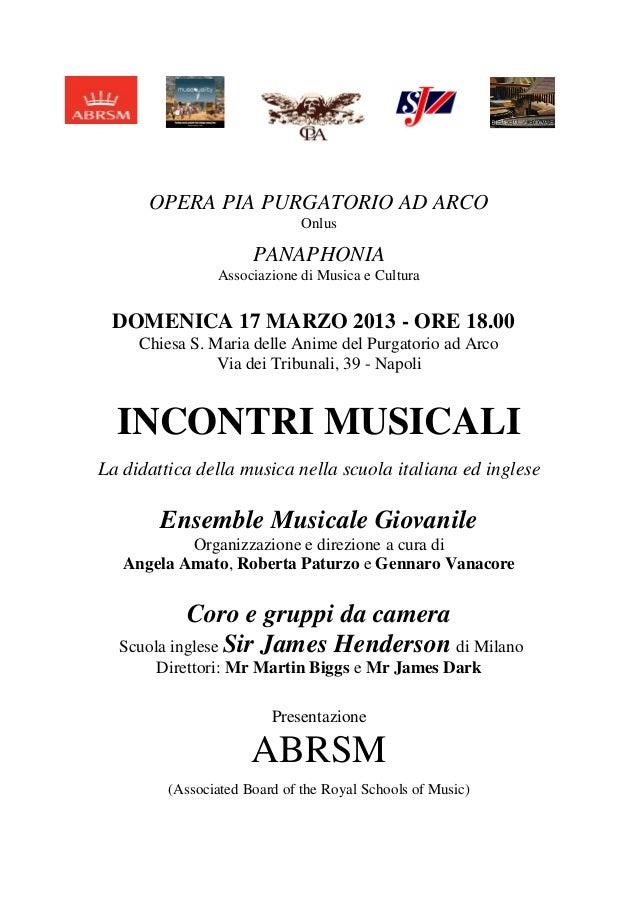 Incontri Musicali 17 Marzo 2013