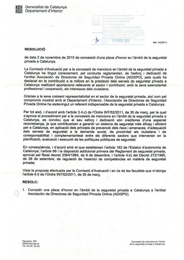 Concesión a ADISPO de placa de honor de la Generalitat de Cataluña