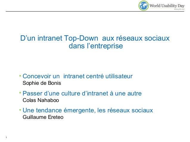D'un intranet Top-Down aux réseaux sociaux dans l'entreprise • Concevoir un intranet centré utilisateur Sophie de Bonis • ...