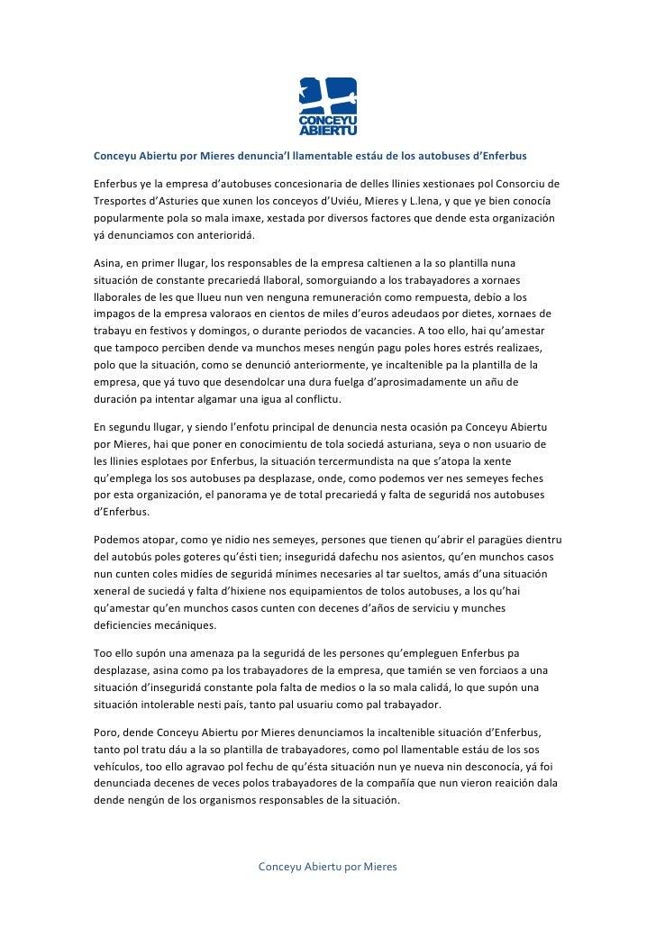 Conceyu Abiertu por Mieres denuncia'l llamentable estáu de los autobuses d'EnferbusEnferbus ye la empresa d'autobuses conc...