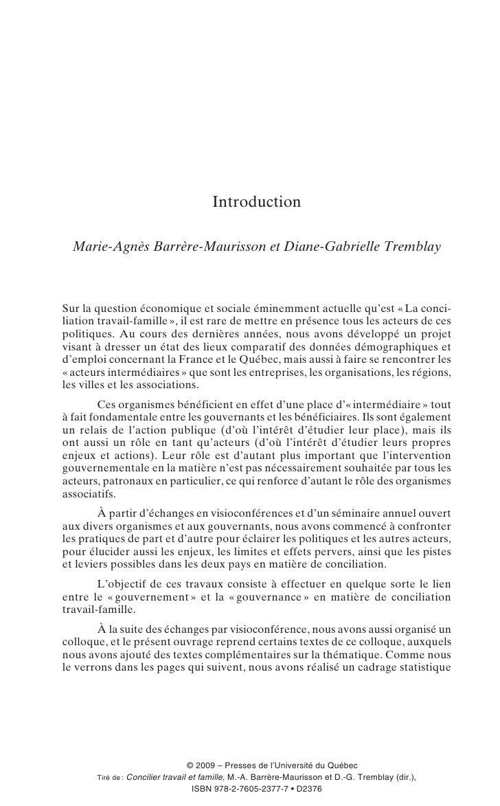 Introduction    Marie-Agnès Barrère-Maurisson et Diane-Gabrielle Tremblay    Sur la question économique et sociale éminemm...