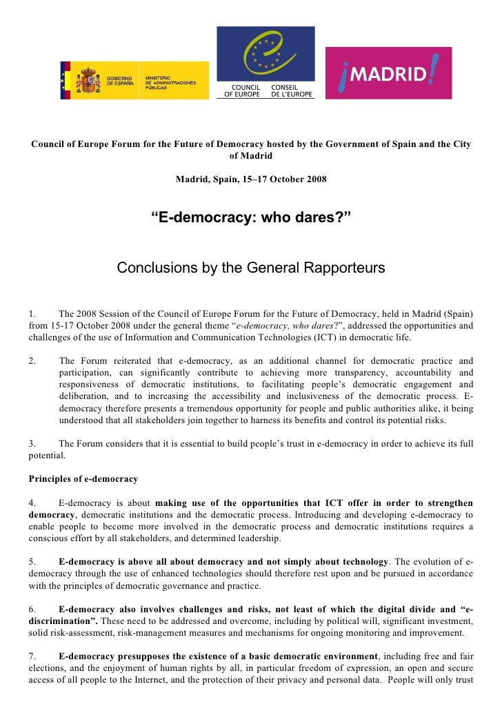 Council of Europe Forum for the Future of Democracy hosted by the Government of Spain and the City                        ...